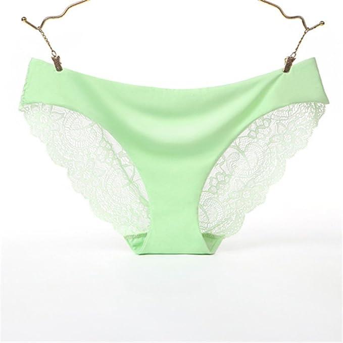 Shirloy Tangas Lace Sexy Ladies Bragas Ice Silk Ropa Interior sin Costura de una Pieza Algodón