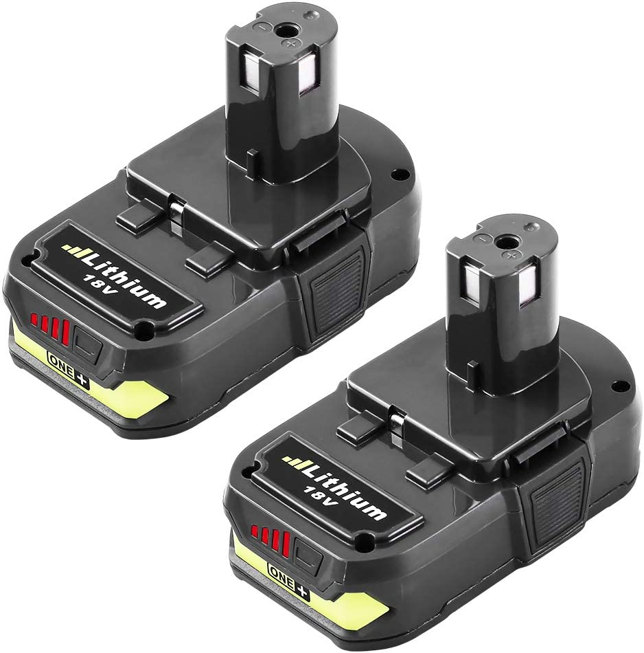 2Pack 3.0Ah P102 Battery Replacement Compatible with Ryobi 18V Lithium P103 P104 P105 P107 P108 P109 P190 P191 P122 for 18V ONE+ Cordless Power Tools
