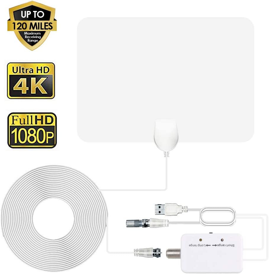 ANEAR TV Antenna - HDTV Antenna Indoor Support 4K 1080P, 80-130 Miles Range Digital Antenna, VHF UHF Freeview Channels Antenna with Amplifier Signal Booster, 16.5 Ft Longer Coaxial Cable, White