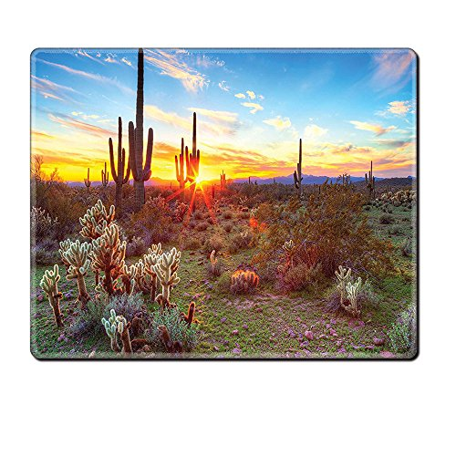 Mouse Pad Unique Custom Printed Mousepad Saguaro Cactus Decor Collection Saguaros Wildflowers In Sonoran Desert Scene Picture Print Blue Yellow Orange Olive Stitched Edge Non Slip Rubber