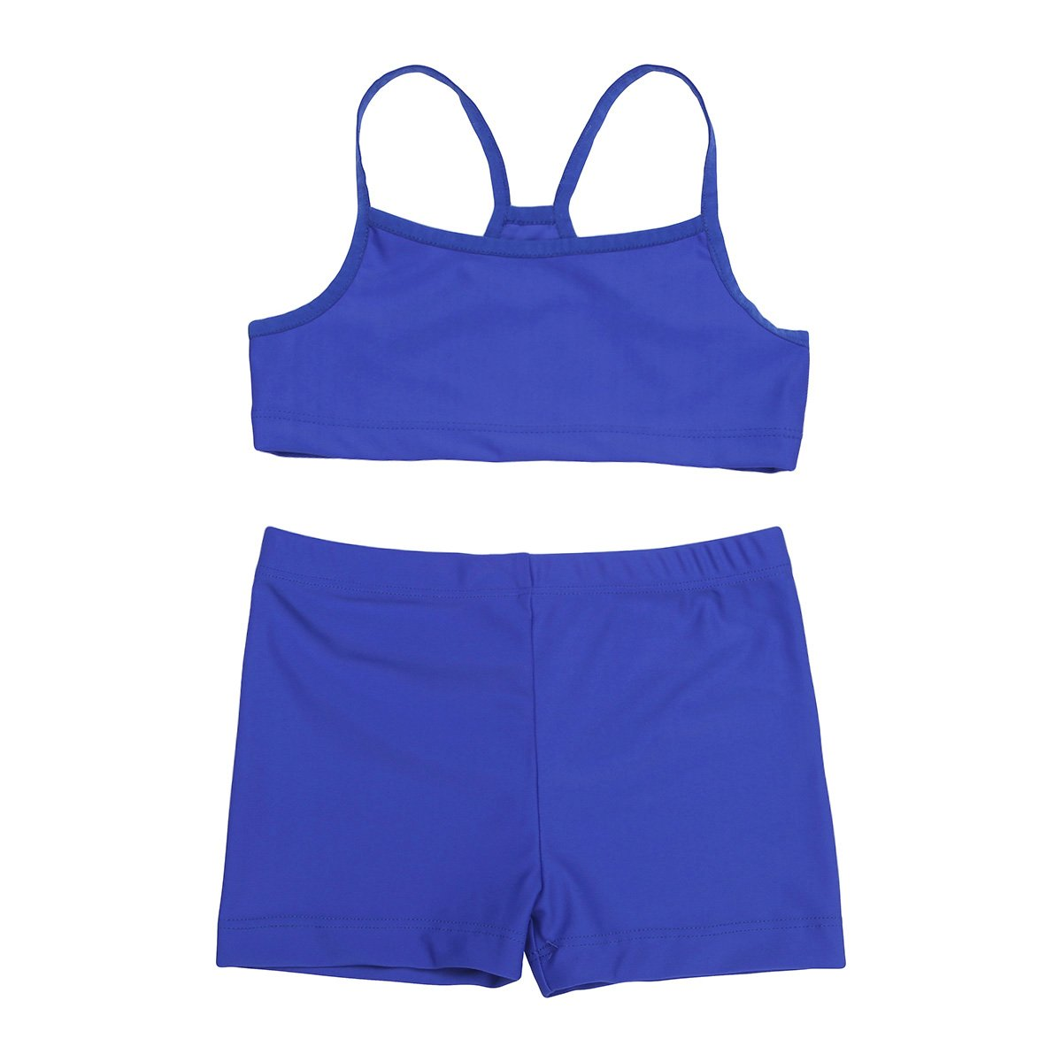 MSemis Kids Girls 2PCS Tankini Straps Tank Tops with Bottoms Gymnastics Sports Workout Swimwear
