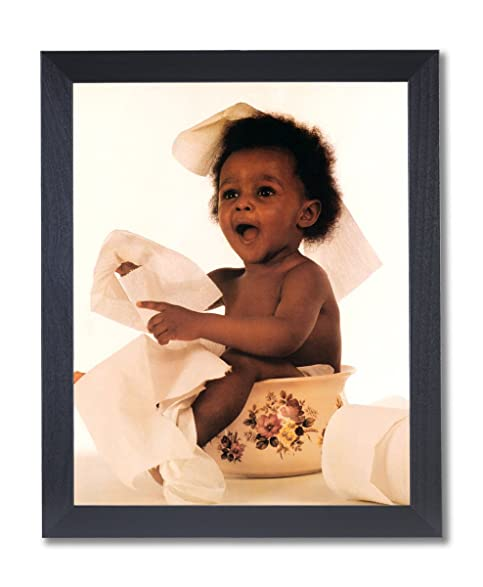 Black Baby On Pot With Toilet Paper Bathroom Wall Picture Black Framed Art  Print