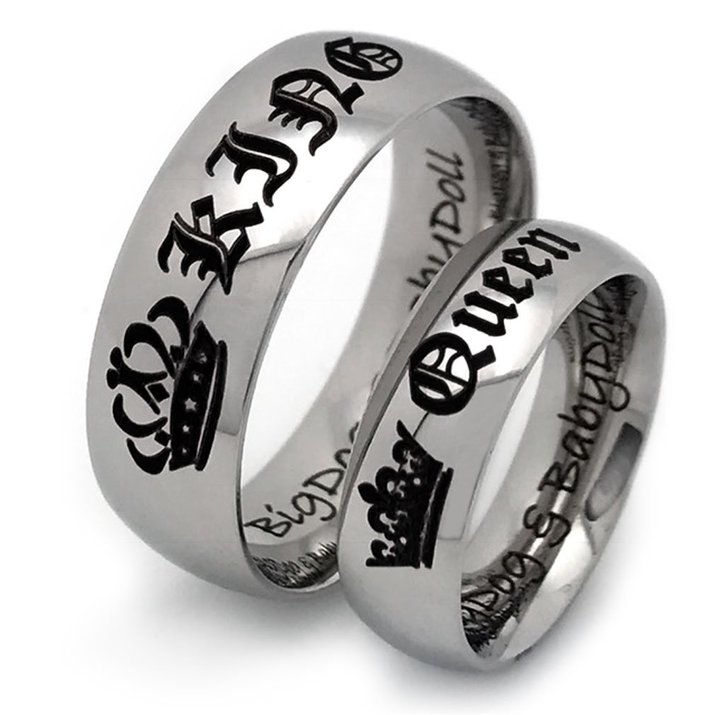 King and Queen Rings, Couples Ring Set, His and Hers Stainless Steel Ring, Anniversary Rings SSR556(With Inside Engravings)