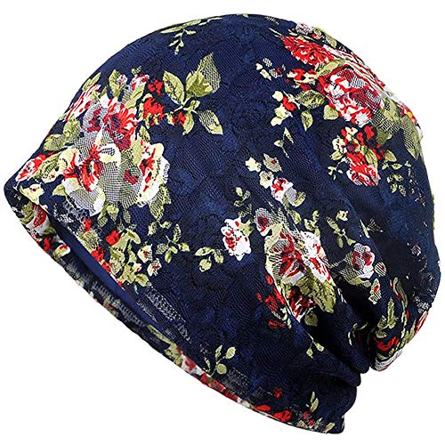 Cotton Womens Beanie - MuYiTai Womens Cotton Beanie Chemo Caps for Cancer Patients (Navy Flower)