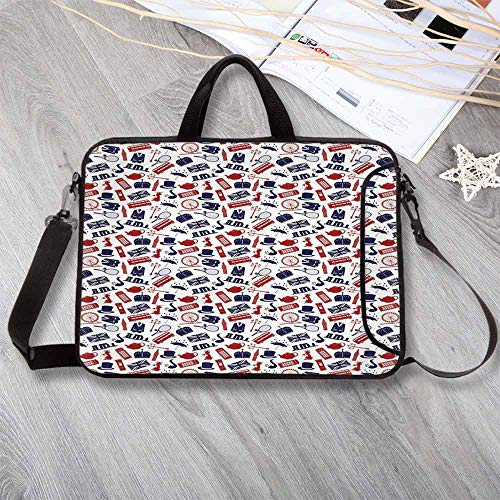 """London Printing Neoprene Laptop Bag,United Kingdom Country Themed Symbols Pattern in National Flag Colors Decorative Laptop Bag for 10 Inch to 17 Inch Laptop,17.3""""L x 13""""W x 0.8""""H"""