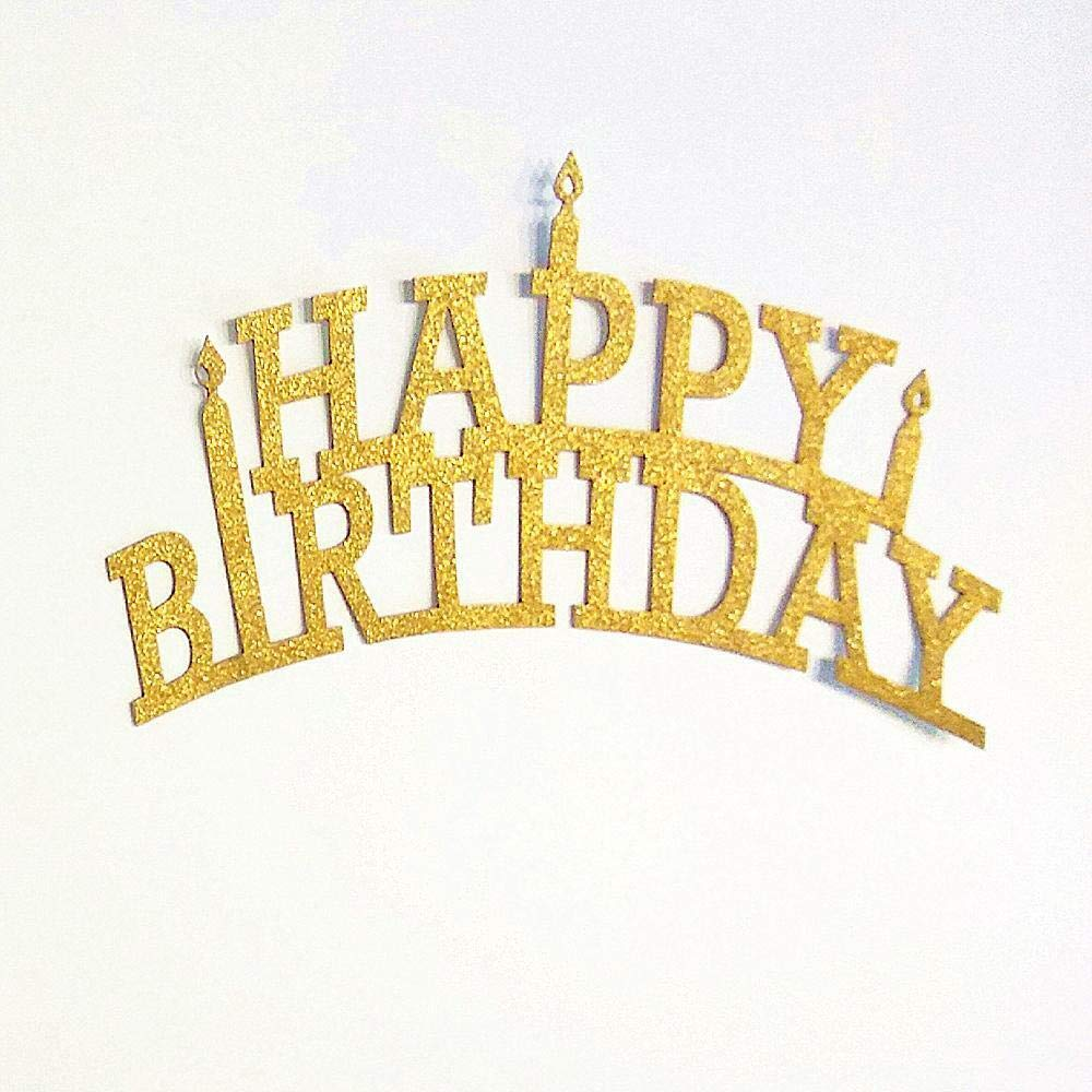BROSCO 10x 20Pcs Gold Glitter Happy Birthday Cupcake Cake Toppers Pick Party Supplies by Brosco (Image #1)
