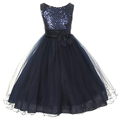 cc064396c1 BNY Corner Flower Girls Dress Sequin Glitter Beaded Dress Wedding Prom  Bridesmaid Navy Blue Baby Size