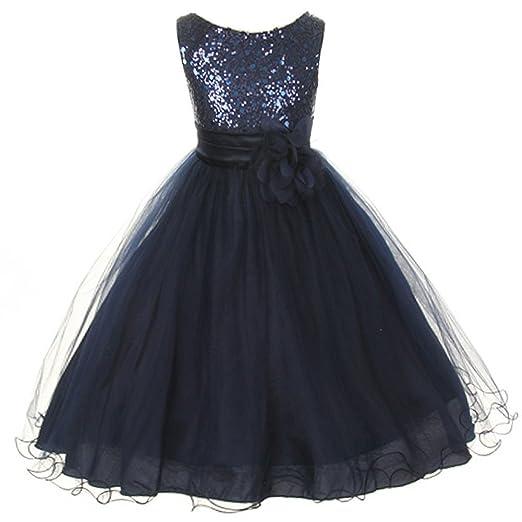 e0e8682e Amazon.com: Flower Girls Big Girls' Dress Sequin Glitter Beaded Pageant Navy  Blue: Clothing