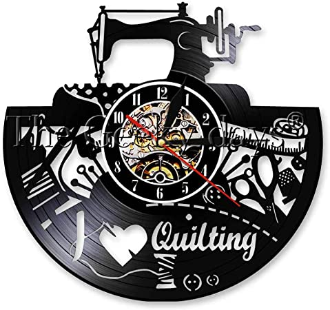 Lanlugg 1 Pieza Máquina de Coser Disco de Vinilo Reloj de Pared ...