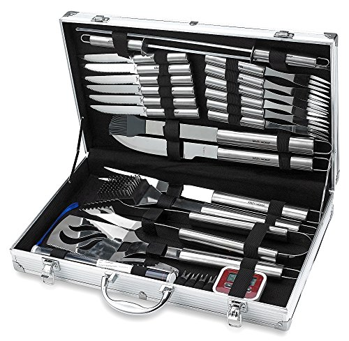 31 Piece Stainless Steel BBQ Accessories Tool Set - Includes Aluminum Storage Case for Barbecue Grill Utensils- by Kitch N' - Tool Set Kitch