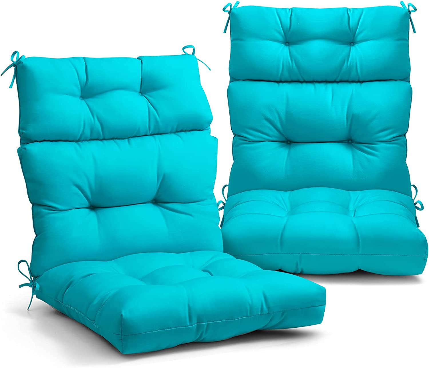 EAGLE PEAK Tufted Outdoor/Indoor High Back Patio Chair Cushion, Set of 2, 44'' x 22'', Blue