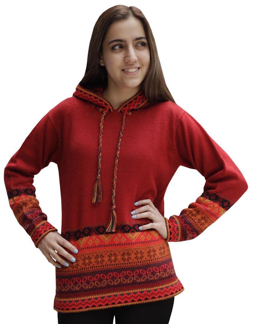 Superfine Handmade Alpaca & Merino Wool Hooded Hoodie Intarsia Sweater (Large, Red)