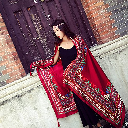 Fablcrew Folk Custom Wrap Tourism Scarf Holiday Sarong Shawls for Mothers Day Christmas Gift Red Wine