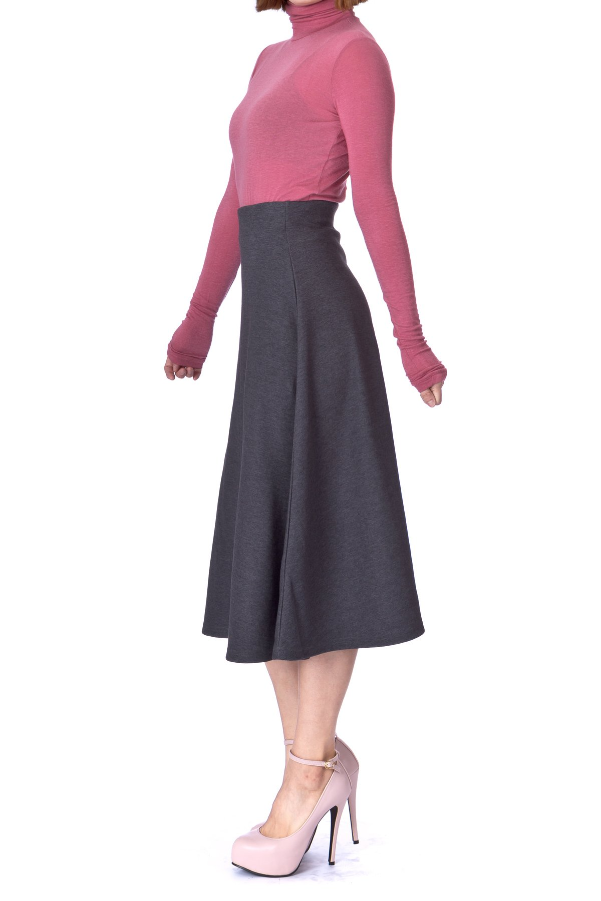 Elastic Waist A-line Flared Long Skirt (S, Charcoal)
