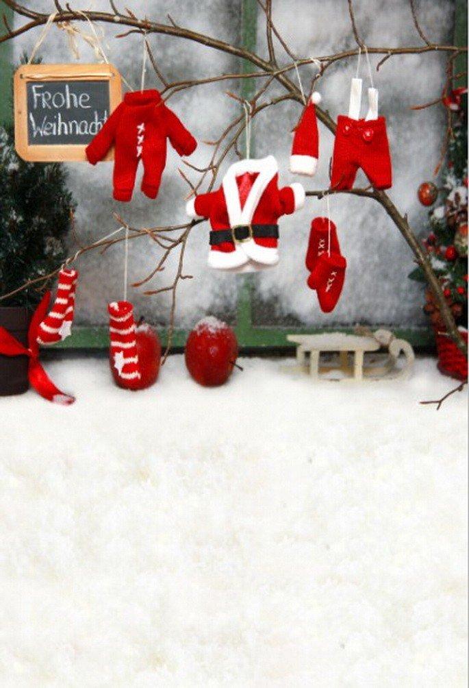 A Monamourクリスマス冬ホワイト雪アウトドア雪だるまBlue Skyパインツリー風景写真の背景幕5 x 7ftビニール – Frohe WeihnachtenサンタClaudsレッドCloths Hanging Branch   B01N0E69SV