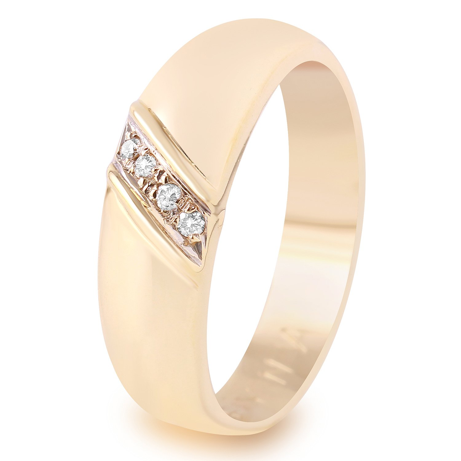 0.07 Carat Natural Fancy Yellow Diamond 14K Yellow Gold Wedding Band for Men Size 11