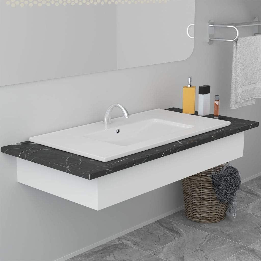vidaXL Lavabo Encastr/é Lave-Mains Encastr/é Vasque /à Poser Vasque /à Monter Salle de Bain Salle dEau Cabine de Toilettes 42x39x18 cm C/éramique Blanc