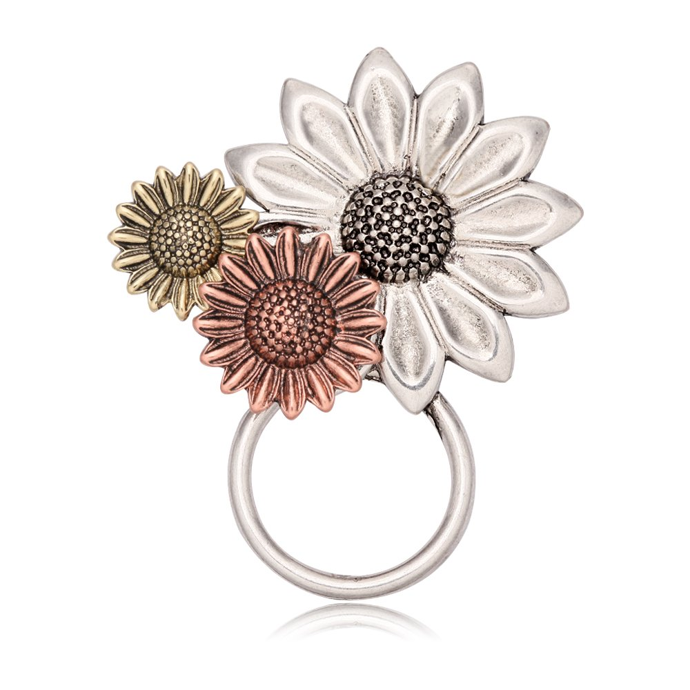 NOUMANDA Antique Gold Silver and Copper 3 Sunflower Magnetic Eyeglass Holder Brooch and Bangle (Brooch)