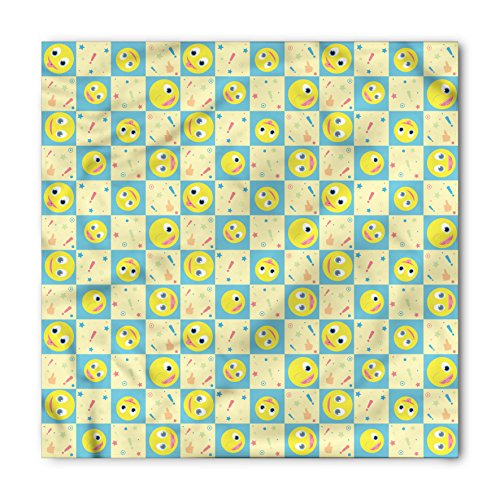 Lunarable Cartoon Bandana, Smiley Faces Expressions, Unisex Head and Neck Tie