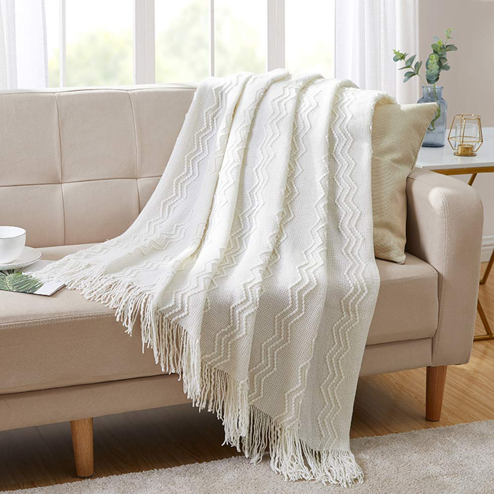 BOURINA Throw Blanket Textured Solid Soft for Sofa Couch Decorative Knitted Blanket, 50'' x 60'',Off White by BOURINA