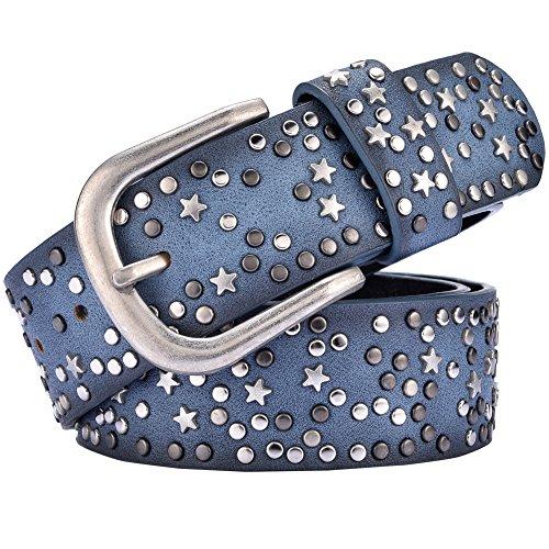 Studded Vintage Jeans - ANQILA Women Vintage Leather Rivet Studded Jean Belt (Blue)