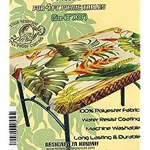"Hawaiian Tropical Picnic Tablecloth tapa (Fits 4 feet picnic tables 48""x30"", spicing up party)"