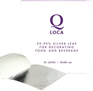 Q-loca 100% Pure Edible Silver Leaf for Decorating Food and Beverage (80x80 mm : 25 sheets)