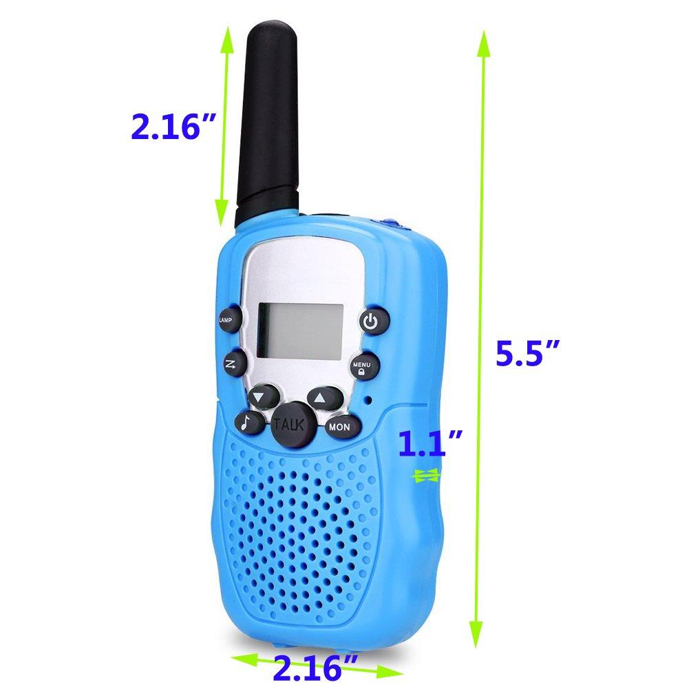 Egoelife Kids Walkie Talkies Two Ways Radio Long Range 22 Channel with US Charger(4 Packs) (Blue, Pink, Black, Yellow) by Egoelife (Image #5)
