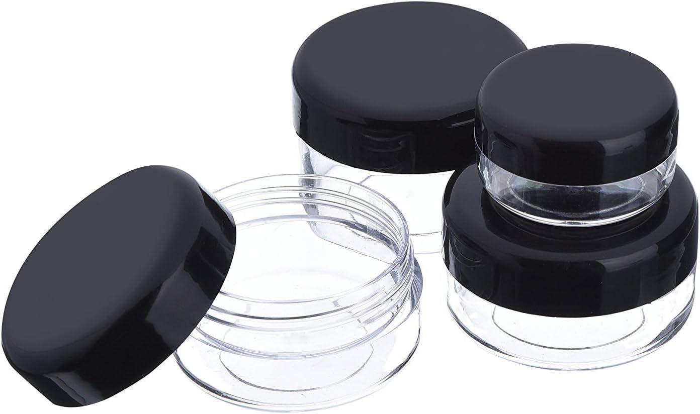 Nailart D/öschen,Worsendy Plastik D/öschen Leerer Kosmetikbeh/älter mit Deckel f/ür Cremes Muster Makeup Speicher,D/öschen T/öpfe Kosmetik Makeup Krug Runde Creme Beh/älter 20 St/ück Schwarz, 5 g