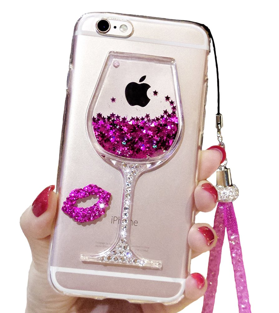 iPhone 7 Plus Cute Case, 7 Plus Liquid Glitter Case, Black Lemon Goblet Wine Glass Liquid Quicksand Flowing Floating Bling Glitter Sexy Makeup Case for Girls with Neck Lanyard (Rose)