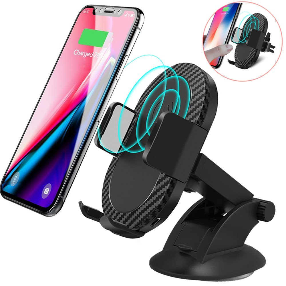 Wireless Car Charger, 2 in 1 10W Fast Wireless Charger Air Vent & Bracket Phone Holder for iPhoneX/8/8 Plus, Samsung Galaxy S9/S9+/Note 8/S8/S8 Plus/S7/S6 Edge All Qi Enabled