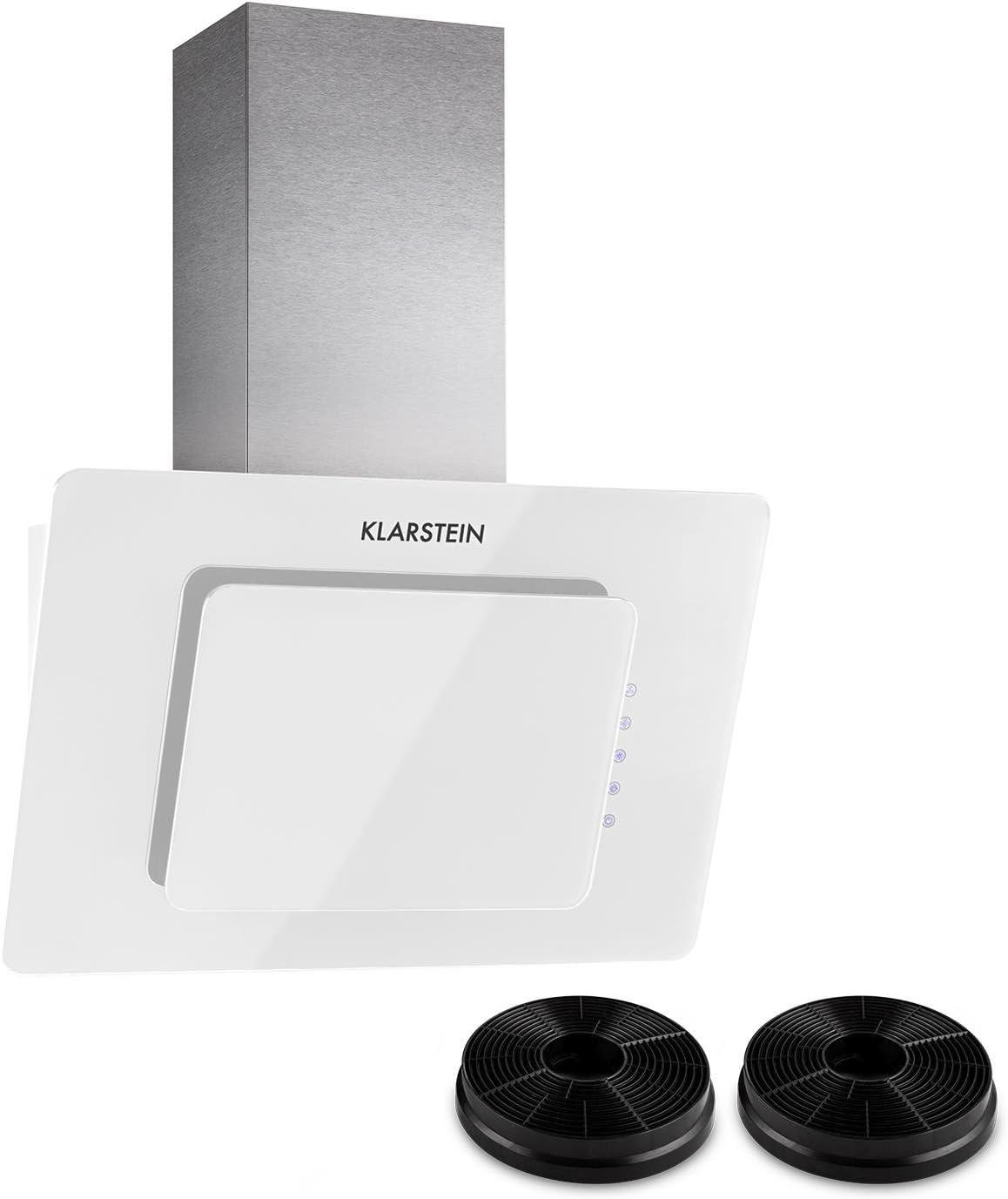Klarstein Lorea 60 campana extractora con filtro de carbón activo - Extractor de humos, 280 m³/h, Vidrio frontal, Circulación de aire, Control táctil, Iluminación LED, 3 niveles, Blanco