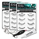 Ardell Fake Eyelashes Demi Wispies Value Pack - Natural Demi Wispies (Black, 3-Pack), LashGrip Strip Adhesive, Dual Lash Applicator, Cameo Eyelash Curler - Everything For Perfect False Eyelashes