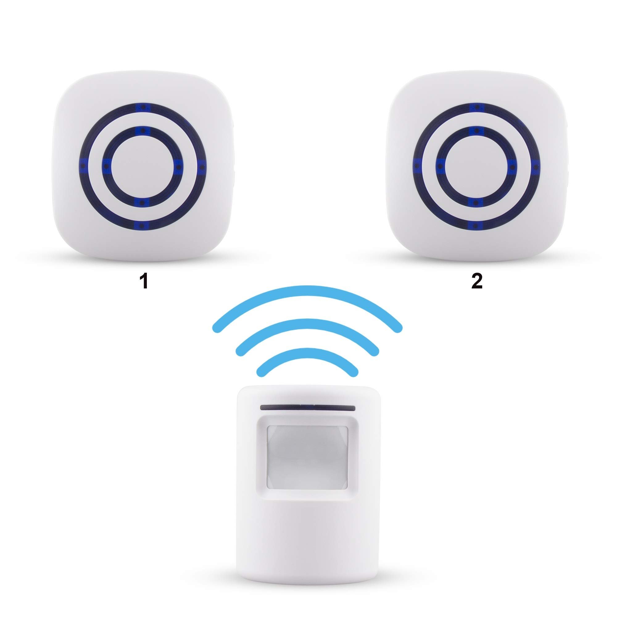 Xcellent Global Wireless Driveway Alert Infrared Sensor Home Security Door Bell Alarm with with 1 Sensor and 2 Receiver and 38-Ringtones HG212S