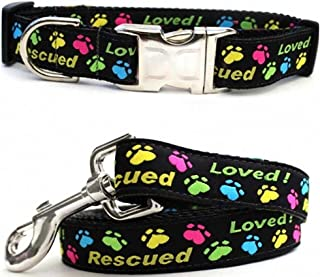 "product image for Diva-Dog 'Rescue Me' Custom Small Dog 5/8"" Wide Dog Collar with Plain or Engraved Buckle, Matching Leash Available - Teacup, XS/S"