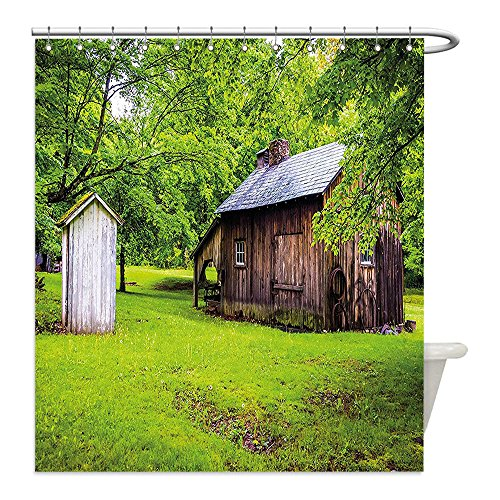 Fern Costume Ideas (Liguo88 Custom Waterproof Bathroom Shower Curtain Polyester Outhouse Spring Time Forest Leaves with Outhouse Little Cottage Art Photo Fern Green and Dark Brown Decorative bathroom)