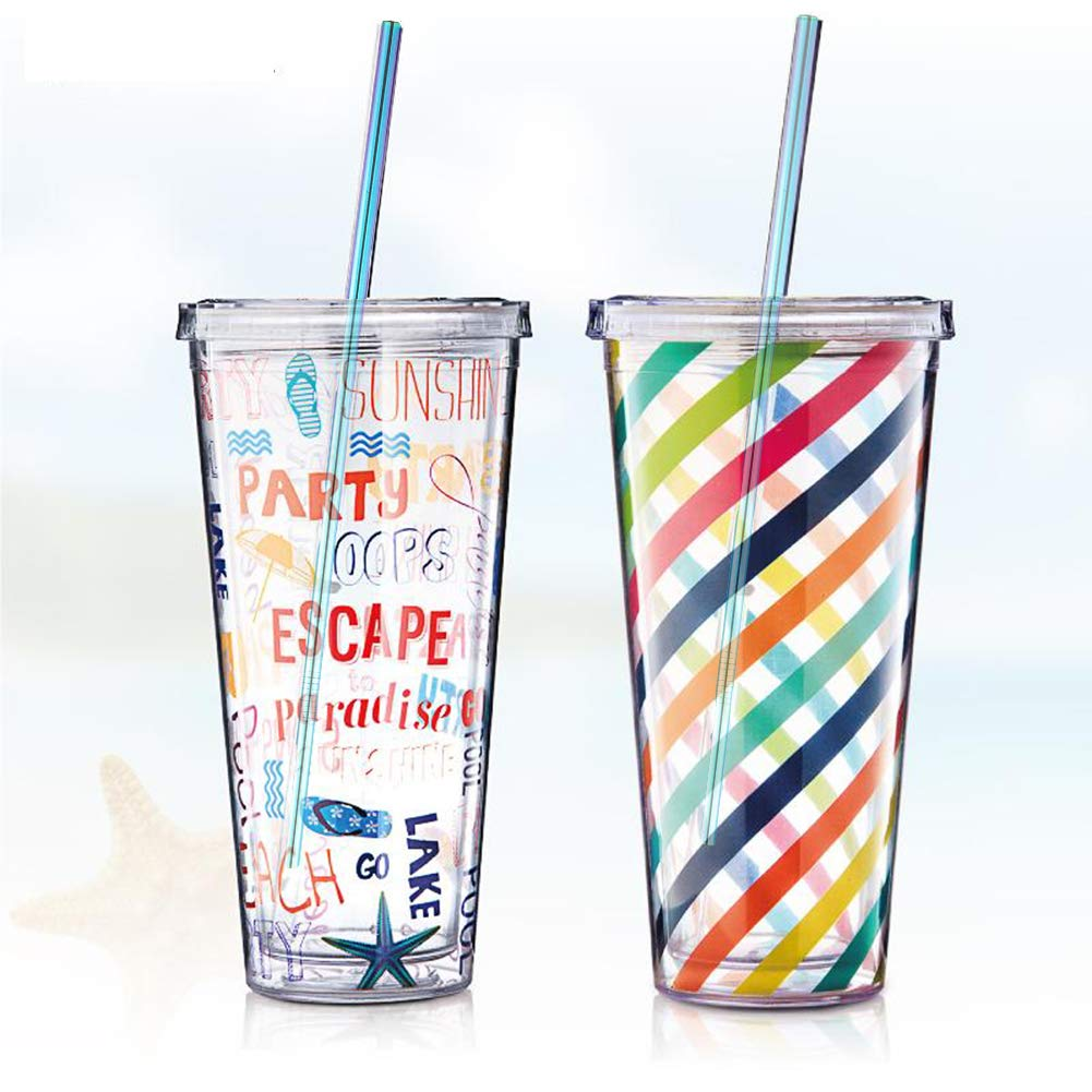 Metal Straws, Colorful Titanium Drinking Straws with Cleaning Brushes for Smoothies, Lemnoade, Cocktails, for 20oz/ 30oz Yeti Tumbler Ozark Trail Ramblers Cups (Titanium) by Billion Xin (Image #2)
