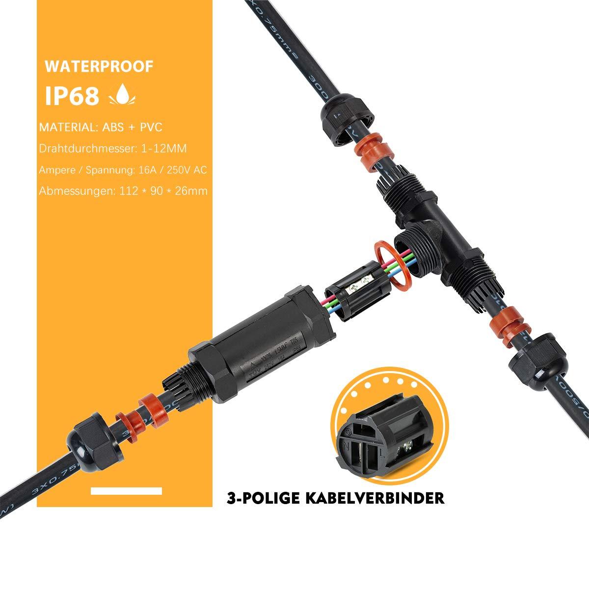 3Polig Kabelverbinder Muffe Erdkabel IP68 T//I-Form Wasserdicht Verbindungsmuffe