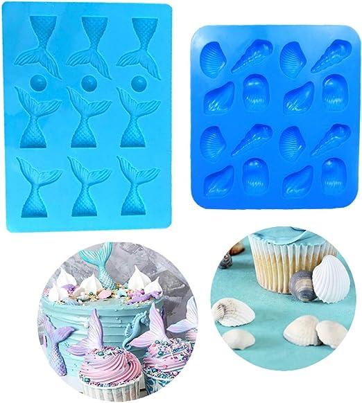 antiadherentes decoraci/ón de cupcakes moldes de silicona para hornear gelatina 2 moldes de silicona para fondant con forma de cola de sirena caramelos para chocolate
