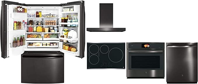 Amazon Com Ge Profile 5 Piece Kitchen Appliance Package With Pfe28pblts 36 Fridge Php9030sjss 30 Cooktop Uvw9301blts 30 Hood Pt9051blts 30 Oven And Pdt855sblts 24 Dishwasher In Black Stainless Steel Appliances