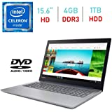 Lenovo IdeaPad 320 15.6-inch HD Anti-Glare (1366x768) Display Laptop PC, Intel Celeron N3350 Processor, 4GB DDR4 RAM, 1TB HDD, HDMI, Bluetooth, 802.11ac WiFi, Webcam, DVD-RW, Windows 10 Blue