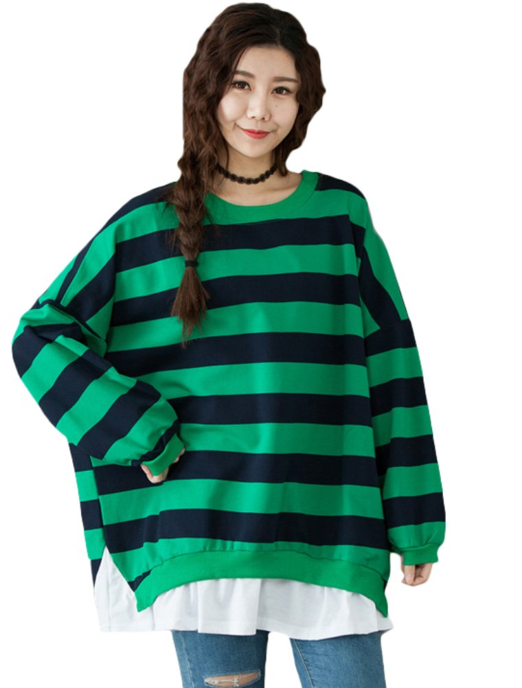 Mordenmiss Women's Casual Color Stripe Blouse Loose Sweatshirt XL Style 1-Green