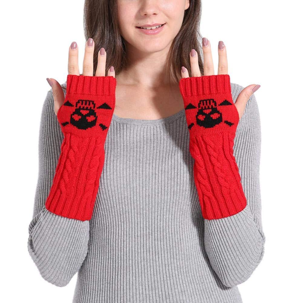 Singa-Z Spiral Skeleton Style Knitting Gloves Fingerless Gloves for Winter for Women