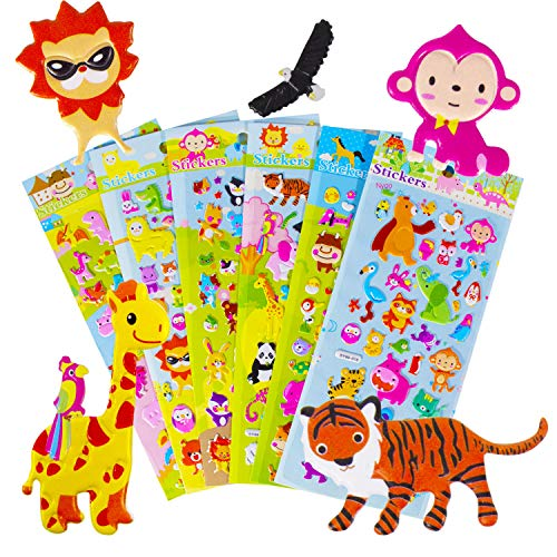 6 Sheets Animal Stickers for Kids, Non-Toxic 3D Puffy Stickers, Kindergarten Reward Stickers Prizes, Bulk Stickers for Boy Girl Birthday Gift, Including Animals, and More Stickers for Kids.