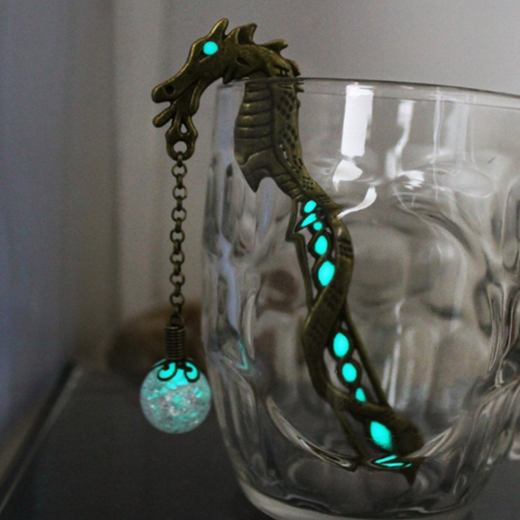 Bobury 2PCS Unique Dragon Bookmarker Luminous Beads Book Marks Vintage Book Holder for Student Stationery Gift