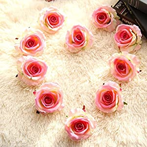 "Artificial Fake Flowers Silk 4"" 2.2"" Big Roses Heads Flower Arrangements Real Touch Flannel Wedding Decorations Floral Table Centerpieces for Home Kitchen Garden Party Décor (10 PCS, Pink) 1"