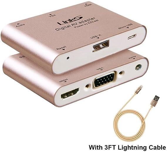 Lightning to HDMI//VGA Audio AV Adapter Converter for Apple Android Phone//Tablet