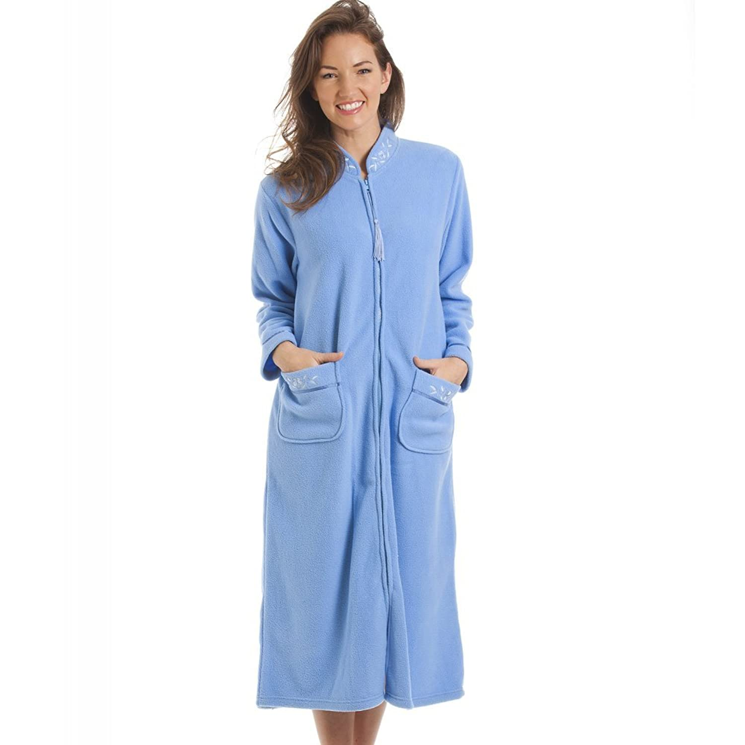 Camille Womens Ladies Luxury Blue Zip Up Housecoat Bath Robe 6/8 ...