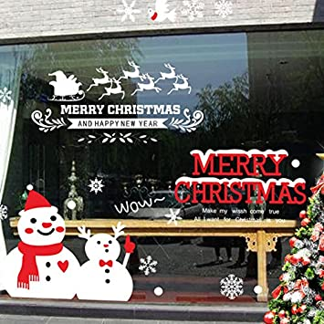 merry christmas home decor decal window cling for glasses windows door show window removable glass sticker - Amazon Christmas Home Decor