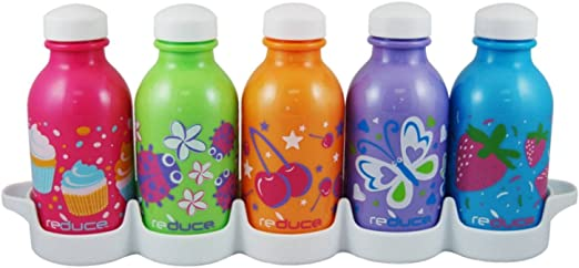 BPA-free 10oz Perfect for Lunchboxes reduce WaterWeek Kids Reusable Water Bottle Set with Fridge Tray Organizer Leak Proof Twist Off Cap Assorted Colors 5 Pack